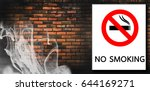 no smoking sign on white... | Shutterstock . vector #644169271