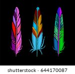 ethnic feathers embroidery set. ... | Shutterstock .eps vector #644170087