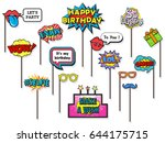 props for photos booth on happy ... | Shutterstock .eps vector #644175715