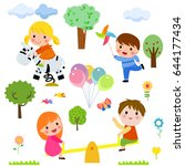kids playing | Shutterstock .eps vector #644177434