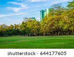 green grass field in public... | Shutterstock . vector #644177605