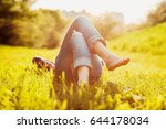 young hipster girl lying on the ... | Shutterstock . vector #644178034