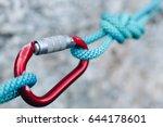 carabiner hook with a climbing... | Shutterstock . vector #644178601