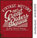 motorcycle t shirt graphic | Shutterstock .eps vector #644183335