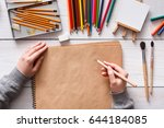 top view of artist's workplace  ... | Shutterstock . vector #644184085