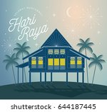 raya greetings village scene... | Shutterstock .eps vector #644187445