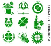 leaf clover labels and elements ... | Shutterstock .eps vector #644195659