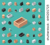 different box vector isometric... | Shutterstock .eps vector #644201725
