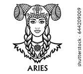zodiac sign aries. fantastic... | Shutterstock .eps vector #644209009