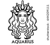 zodiac sign  aquarius.... | Shutterstock .eps vector #644209111