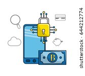 smartphone with bitcoin... | Shutterstock .eps vector #644212774