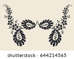 flower motif hand draw for... | Shutterstock .eps vector #644214565