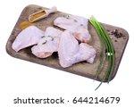 raw chicken on cutting board on ...   Shutterstock . vector #644214679