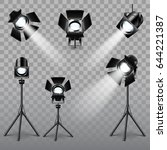 realistic spotlight set on... | Shutterstock .eps vector #644221387