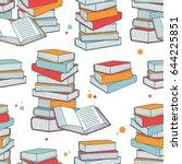 pile of books hand drawn... | Shutterstock .eps vector #644225851