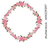 a round  uniform frame of roses ... | Shutterstock . vector #644229397