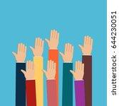 people vote hands. raised hands ... | Shutterstock .eps vector #644230051