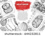 meat and sausage top view frame....   Shutterstock .eps vector #644232811