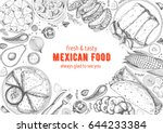 mexican cuisine top view frame. ... | Shutterstock .eps vector #644233384