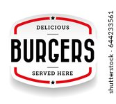 burger vintage stamp sticker... | Shutterstock .eps vector #644233561