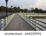 bridge on lagoon walkway for... | Shutterstock . vector #644235991
