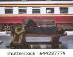 young traveler sleeping in... | Shutterstock . vector #644237779