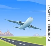 airplane is flying over the... | Shutterstock .eps vector #644239174