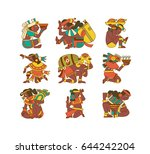 vector illustration aztec cacao ... | Shutterstock .eps vector #644242204