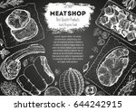 meats and sausages top view... | Shutterstock .eps vector #644242915