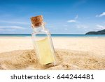 bottle with a empty paper... | Shutterstock . vector #644244481