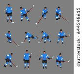 colored hockey player set   Shutterstock .eps vector #644248615