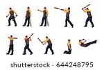 man with basebal bat set 03 | Shutterstock .eps vector #644248795