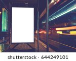 illuminated blank billboard... | Shutterstock . vector #644249101