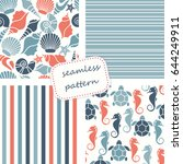 set of 4 seamless patterns in... | Shutterstock .eps vector #644249911