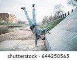 hip hop performer  upside down...   Shutterstock . vector #644250565