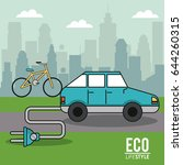 eco lifestyle electric car bike ... | Shutterstock .eps vector #644260315