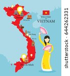 vietnam map and landmarks with... | Shutterstock .eps vector #644262331