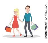 happy family enjoy shopping... | Shutterstock .eps vector #644263864