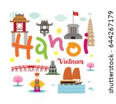 hanoi vietnam travel and... | Shutterstock .eps vector #644267179