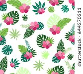 seamless summer pattern with... | Shutterstock .eps vector #644270311