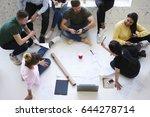 overhead image of working... | Shutterstock . vector #644278714