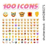 set of 100 cute icons on white... | Shutterstock .eps vector #644280271