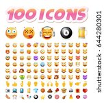set of 100 cute icons on white... | Shutterstock .eps vector #644280301