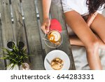 tanned woman sitting and...   Shutterstock . vector #644283331