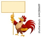 red rooster holding blank... | Shutterstock .eps vector #644288689