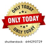 only today round isolated gold... | Shutterstock .eps vector #644293729