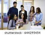 multicultural group of skilled... | Shutterstock . vector #644295454