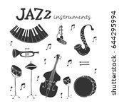 vector jazz instruments icons... | Shutterstock .eps vector #644295994