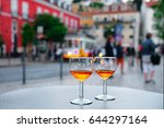 port wine glasses in the cafe... | Shutterstock . vector #644297164