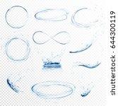 set of transparent water... | Shutterstock .eps vector #644300119